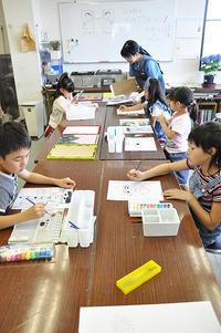児童画クラスお父さんのガラス絵 - 絵画教室アトリエTODAY