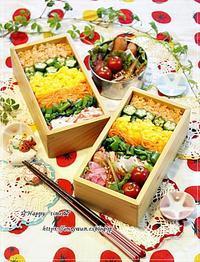 あるもののっけて押し寿司風弁当と今夜は白菜で♪ - ☆Happy time☆
