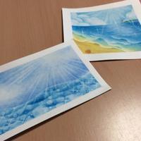 輝く海 - アトリエ絵くぼのパステルアート教室