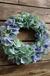 ブルーグリーンの紫陽花リースを販売開始しました - maano diary マーノ日々のこと