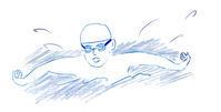 水泳 バタフライ - イラストレーション ノート