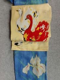 麻の菖蒲に赤い白鳥 - うららフェルトライフ
