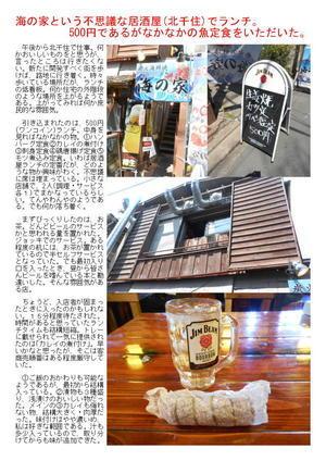 海の家という不思議な居酒屋(北千住)でランチ。500円であるがなかなかの魚定食をいただいた。