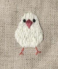 白文鳥の刺繍をしました。 - vogelhaus note