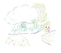 公園を一緒に歩いたね - イラストレーション ノート
