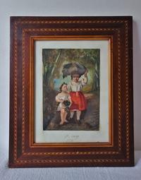 19世紀オリジナル画入り木製額756 - スペイン・バルセロナ・アンティーク gyu's shop