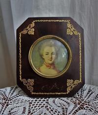 貴婦人肖像画入り木製八角額762 - スペイン・バルセロナ・アンティーク gyu's shop