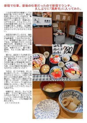 新宿で仕事、昼後の仕事だったので新宿でランチ。久しぶりに「扇寿司」に入ってみた。