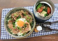 豚丼&サラダ弁当 - 男子高校生のお弁当