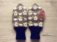 紺×チャコールグレーのティータイムのミトン - ミトン☆愛犬 編みぐるみ Maronyのアトリエ
