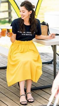 BBQコーデ♪BBQはロゴTシャツとふんわりスカートで好感度高♪甘さを抑えた大人の休日コーデ♪ - *Ray(レイ) 系ほなみのブログ*