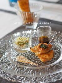 べジ&ブレッド ささみの香味焼き~「5月のテーブルコーディネート&おもてなし料理レッスン」より - ATELIER Let's have a party ! (アトリエレッツハブアパーティー)         テーブルコーディネート&おもてなし料理教室