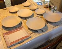 キッチンで釉掛け★蛸唐草角皿とレース紋大鉢中鉢 - 月夜飛行船