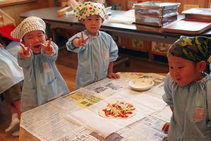 年少組クッキング。ーピザ作りー終 - 陽だまりの小窓 - 菊の花幼稚園保育のようす