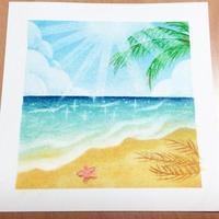 ヤシの木と砂浜と海 - アトリエ絵くぼのパステルアート教室