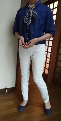 7月14日、70代。青ブラウスと白パンツでコーディネートをする - 楽しく元気に暮らします