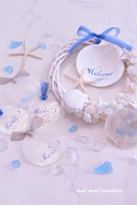 ◆カリグラフィーのスペシャルレッスン♪貝に書いたWelcome&Merci - フランス雑貨とデコパージュ&ギフトラッピング教室 『meli-melo鎌倉』