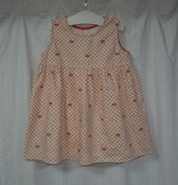 371.赤いリボン柄のワンピース - フリルの子供服