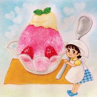かき氷と妖精 - アトリエ絵くぼのパステルアート教室