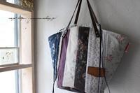 【布合わせ】YUWAローズが素敵なストライプ柄巾着マルシェバッグ♪ - neige+ 手作りのある暮らし