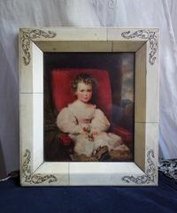 少女の絵入り骨製の額773 - スペイン・バルセロナ・アンティーク gyu's shop