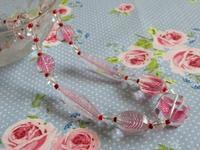 ピンクの筋模様ガラス・ビーズのネックレス -  Der Liebling ~蚤の市フリークの雑貨手帖2冊目~