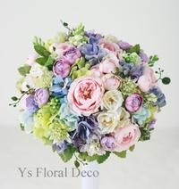 ミックスカラーのラウンドブーケ&ヘッドドレス ヒルトン東京ベイさんへ - Ys Floral Deco Blog