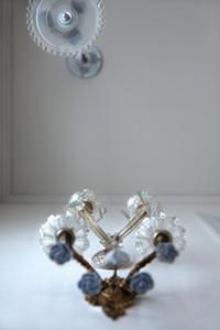 フランスアンティークランプ陶器とガラス照明壁掛けランプ - clair de lune