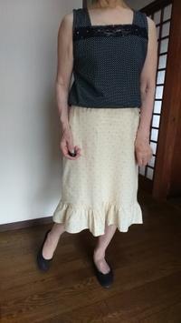7月18日、70代。手作りの綿裾フリルスカートで涼しく過ごす。 - 楽しく元気に暮らします