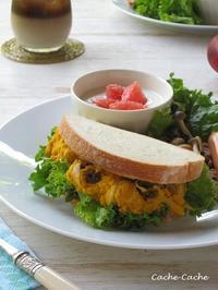 かぼちゃサラダのサンドイッチでワンプレート♪ - Cache-Cache+