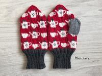 ティータイムのミトン 赤×白で雰囲気を変えて - ミトン☆愛犬 編みぐるみ Maronyのアトリエ