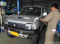 西山工場3インチリフトアップコンプリート JB23ジムニー XG 6型を展示準備中(´∀`∩ - ★豊田市の車屋さん★ワイルドグース日記