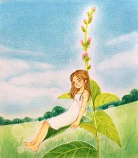 葉の上の妖精 - アトリエ絵くぼのパステルアート教室