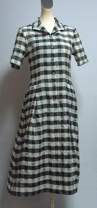 麻とシルクのギンガムチェックワンピース - 私のドレスメイキング