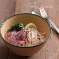 さわやか!チキンの冷製スープパスタ - ふみえ食堂  - a table to be full of happiness -