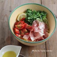 つるるん生ハムのサラダスープ麺 - ふみえ食堂  - a table to be full of happiness -