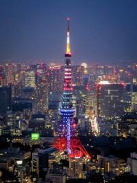 2018.7.24オリンピックカラーの東京タワー(六本木ヒルズ展望台) - ダイヤモンド△△追っかけ記録