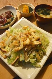 鉄火納豆とお揚げサラダ - 週末は晴れても、雨でも
