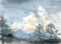 夕日に映える八つの入道雲 - ryuuの手習い