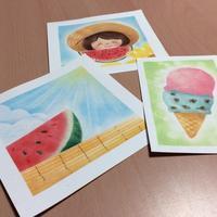 夏はスイカとアイスクリームでしょう - アトリエ絵くぼのパステルアート教室