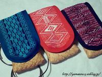 刺繍蓋付き籠つづき - ロシアから白樺細工