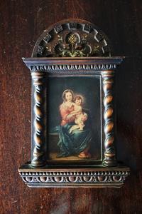 聖母子像入り礼拝堂の木製額707 - スペイン・バルセロナ・アンティーク gyu's shop