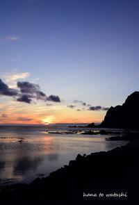 メノウ浜&地蔵岩からの夕陽 - 礼文島★ハナとわたし