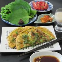 ネギと豚バラ肉のジョン(チヂミ) - Mme.Sacicoの東京お昼ごはん