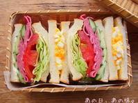 【ふたり弁】サンドイッチ2種。猫の、熱中症チェック。 - あの日、あの味。
