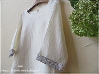 【ハンドメイド 洋服】リネンの七分袖のプルオーバーできました♪ - &m   handmade with linen,cotton...