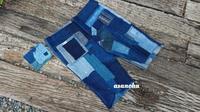 チクチク刺し子襤褸パンツ制作途中 - 古布や麻の葉