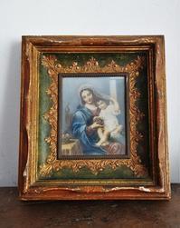 聖母子像入り木製金彩額779 - スペイン・バルセロナ・アンティーク gyu's shop