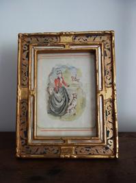 オリジナル水彩画入り木製金彩額778 - スペイン・バルセロナ・アンティーク gyu's shop