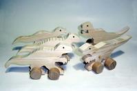 木のくるま動物たちの新作 - 布と木と革FHMO-DESIGNS(エフエッチエムオーデザインズ)Favorite Hand Made Original Designs